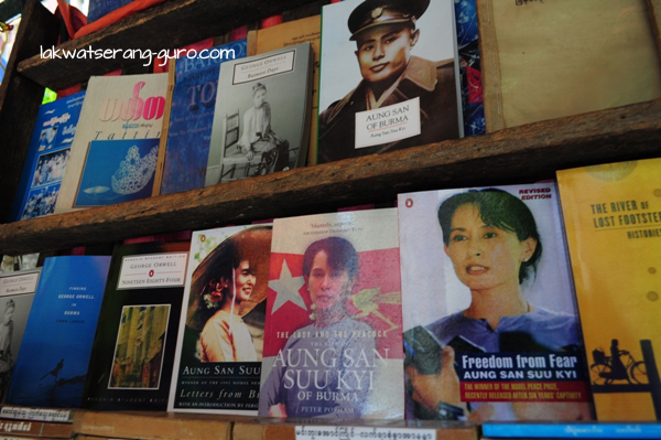 Books on Aung San Suu Kyi in downtown Yangon