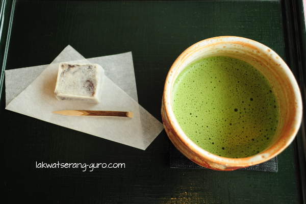 An example of expensive (and not really filling) snacking: matcha and red bean pastry in Kamakura's Hasedera Temple.