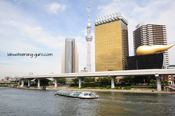 Sumida skyline: see the Tokyo Skytree and the Asahi Beer Tower